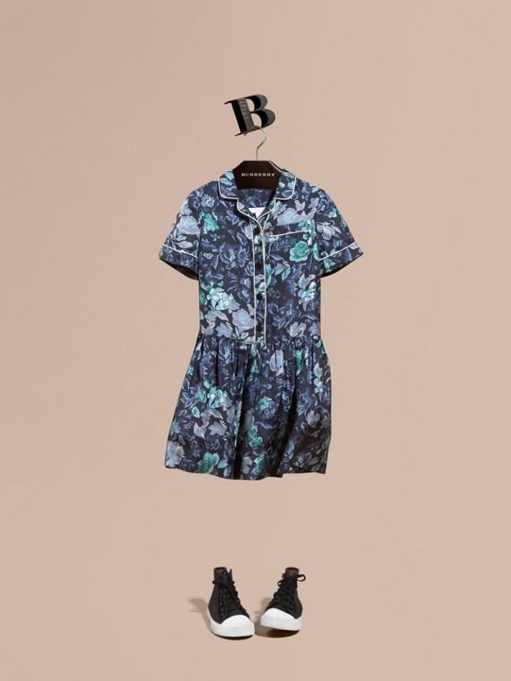 園林花卉印花絲綢襯衫式洋裝