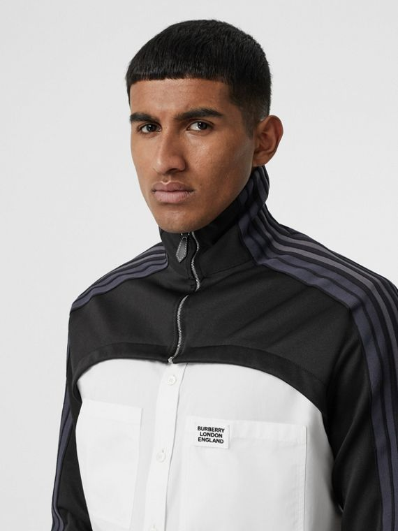 Track Top Panel Cotton Poplin Shirt in Black