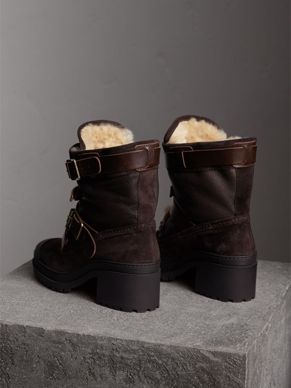 Buckle Detail Suede and Shearling Boots in Charcoal Brown - Women | Burberry - cell image 2