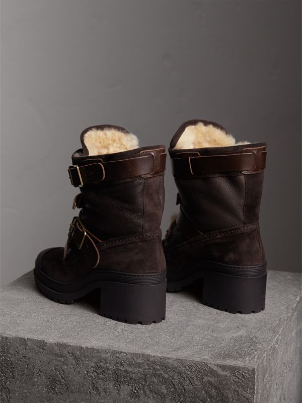 Buckle Detail Suede and Shearling Boots in Charcoal Brown | Burberry United States - cell image 2