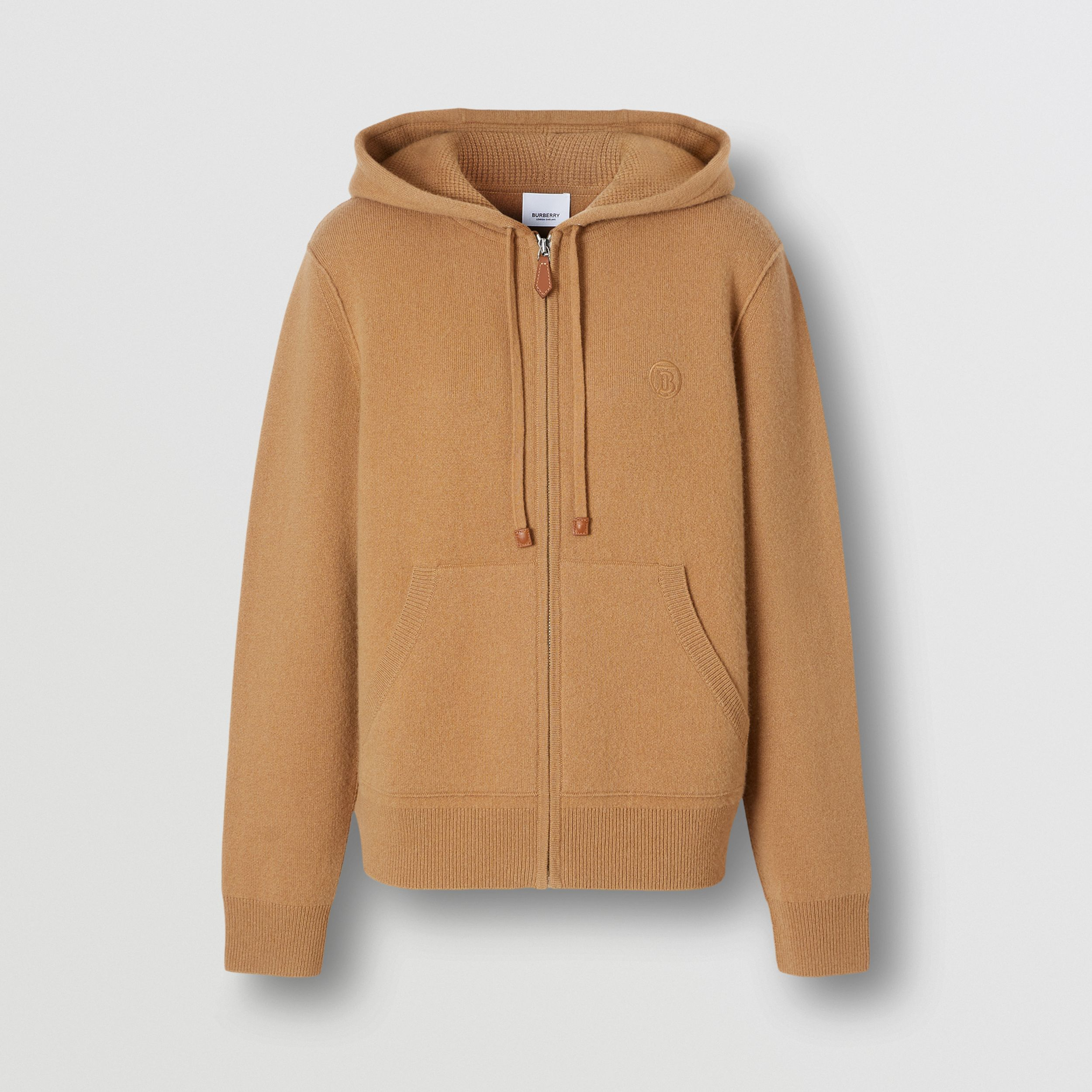 Monogram Motif Cashmere Blend Hooded Top in Camel - Women | Burberry - 4