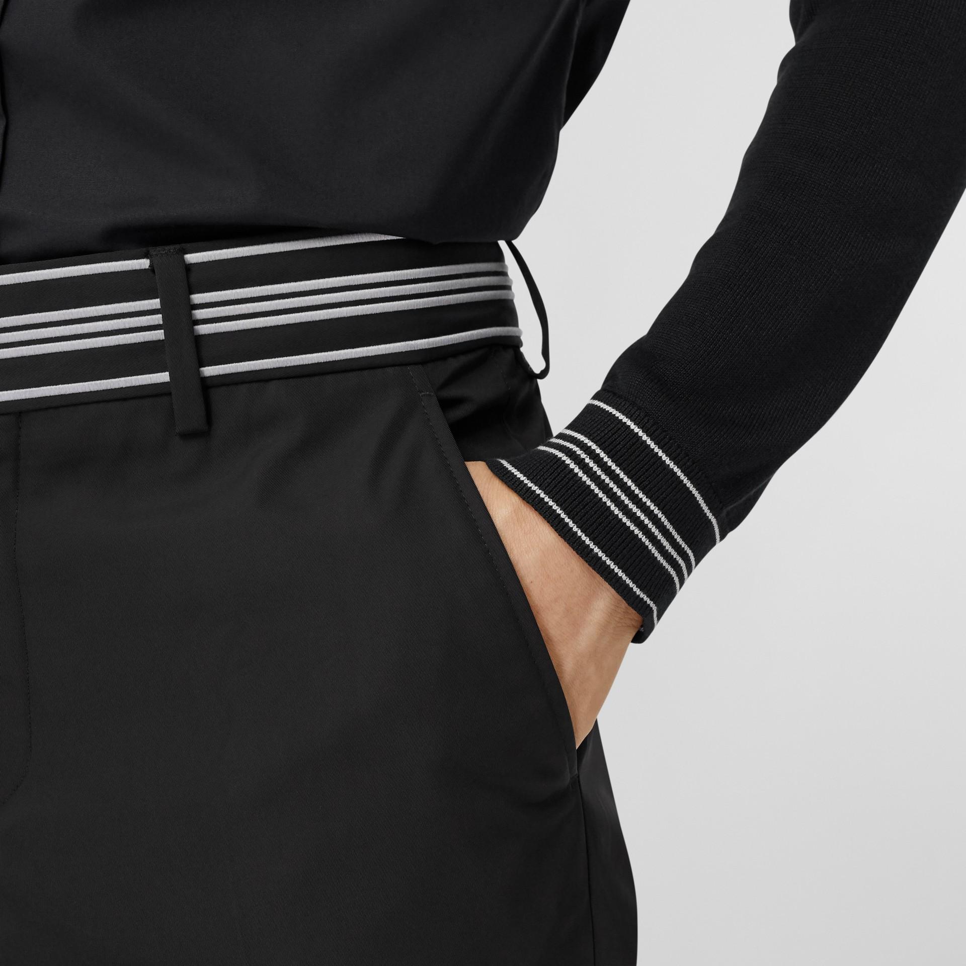 Silk Detail Logo Embroidered Cotton Poplin Shirt in Black - Men | Burberry - gallery image 4