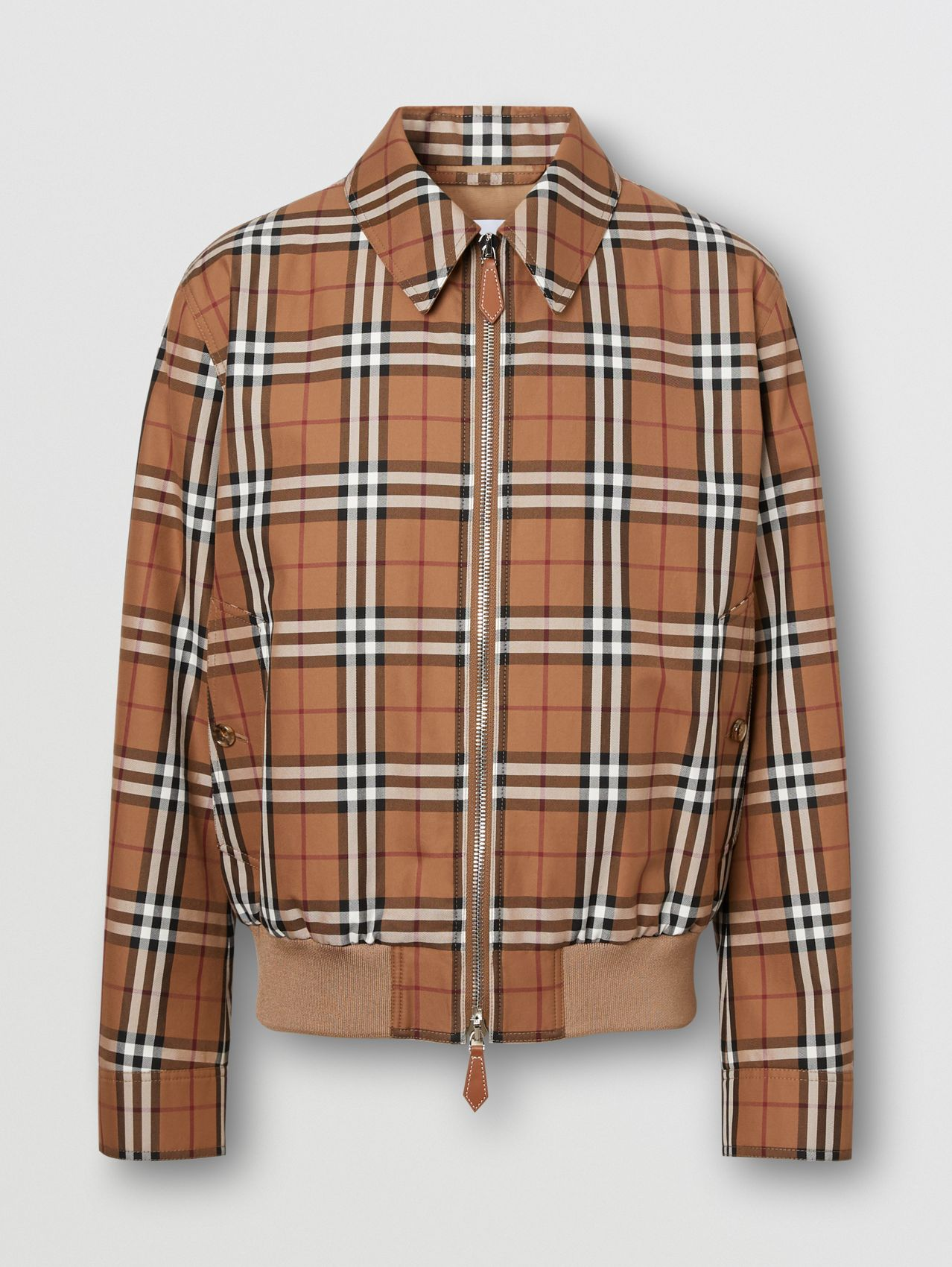Harrington-Jacke mit Vintage Check-Muster und Logo-Applikation (Birkenbraun)