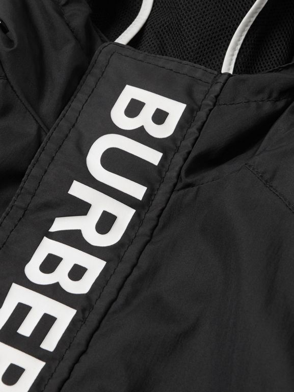 Logo Print Lightweight Hooded Jacket in Black | Burberry - cell image 1