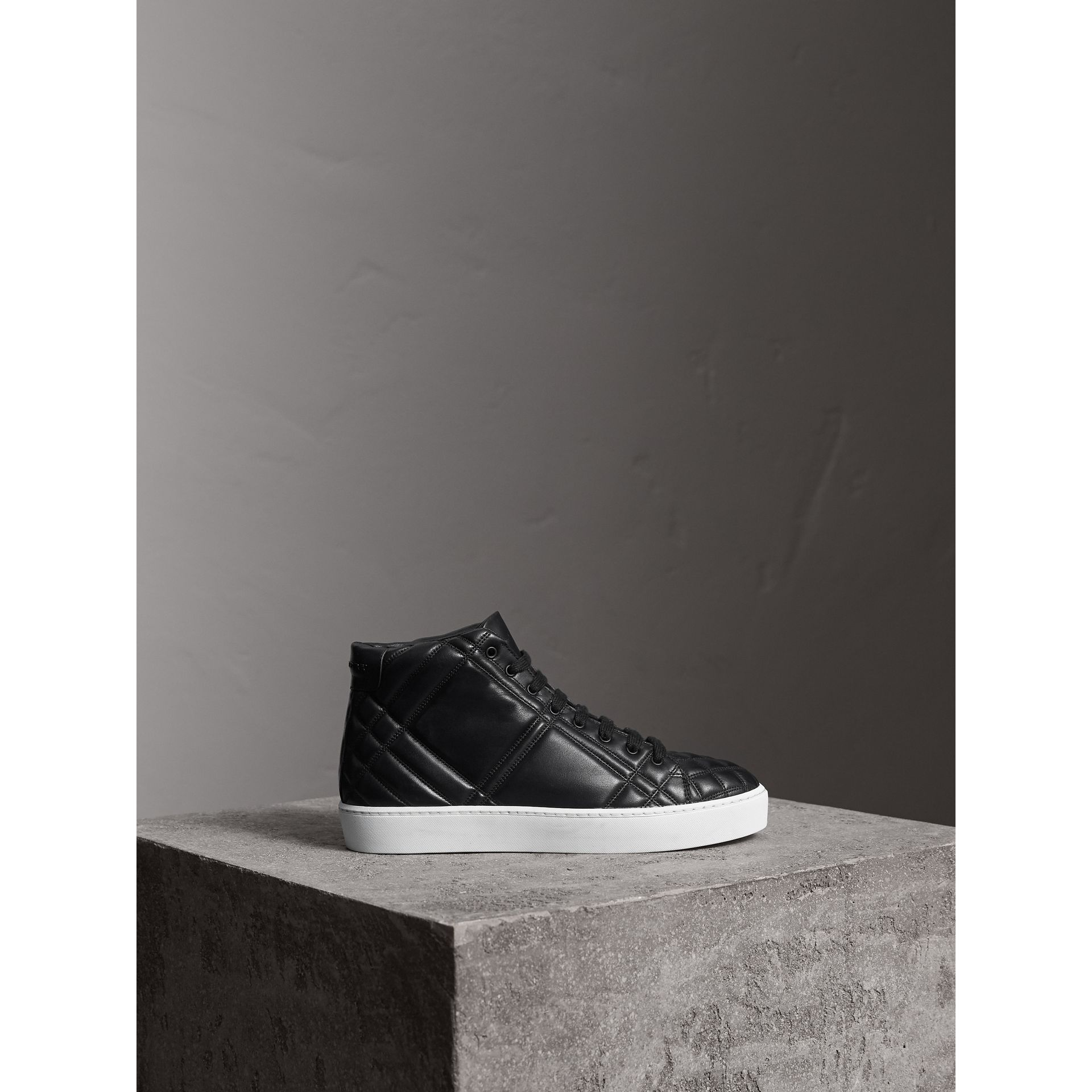 Check-quilted Leather High-top Trainers in Black - Women | Burberry Singapore - gallery image 4