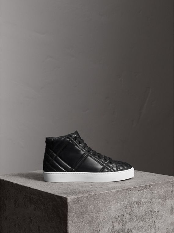 Check-quilted Leather High-top Trainers in Black - Women | Burberry - cell image 3