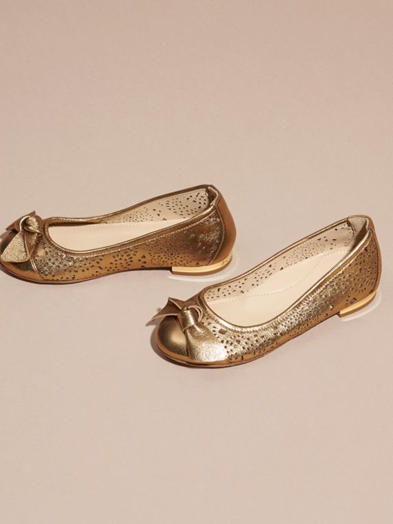 Heritage gold Laser-cut Metallic Leather Ballerinas - cell image 2
