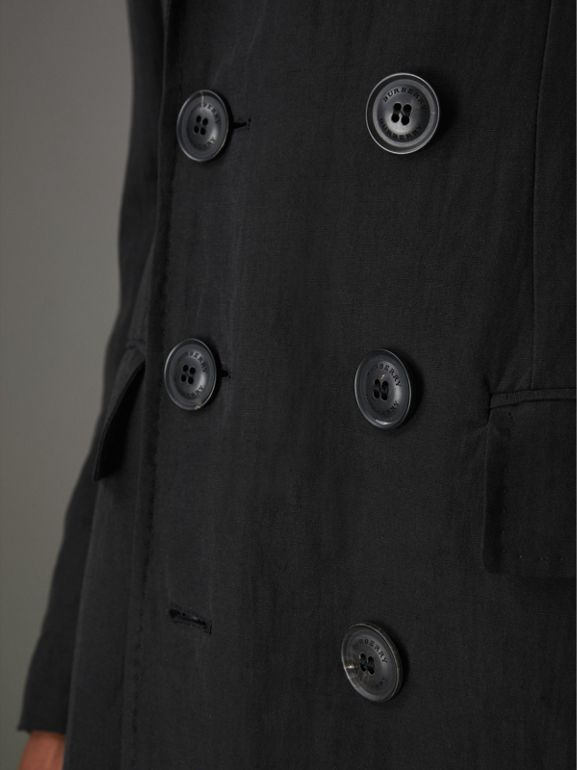 Linen Silk Chesterfield in Black - Men | Burberry - cell image 1