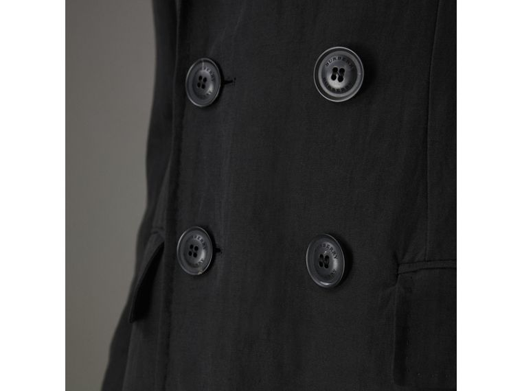 Linen Silk Chesterfield in Black - Men | Burberry Singapore - cell image 1