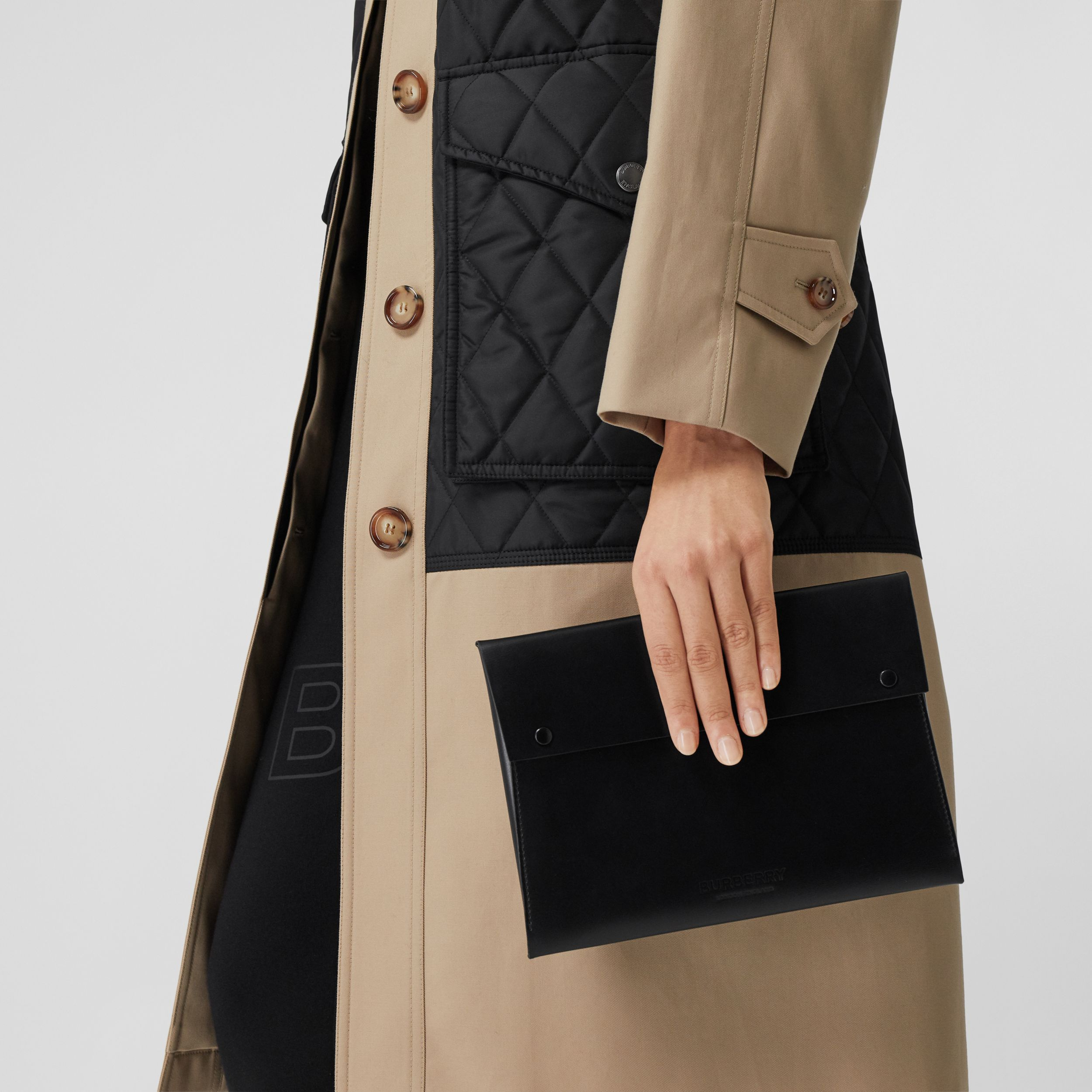 Large Suede and Leather Envelope Pouch in Black | Burberry Australia - 3