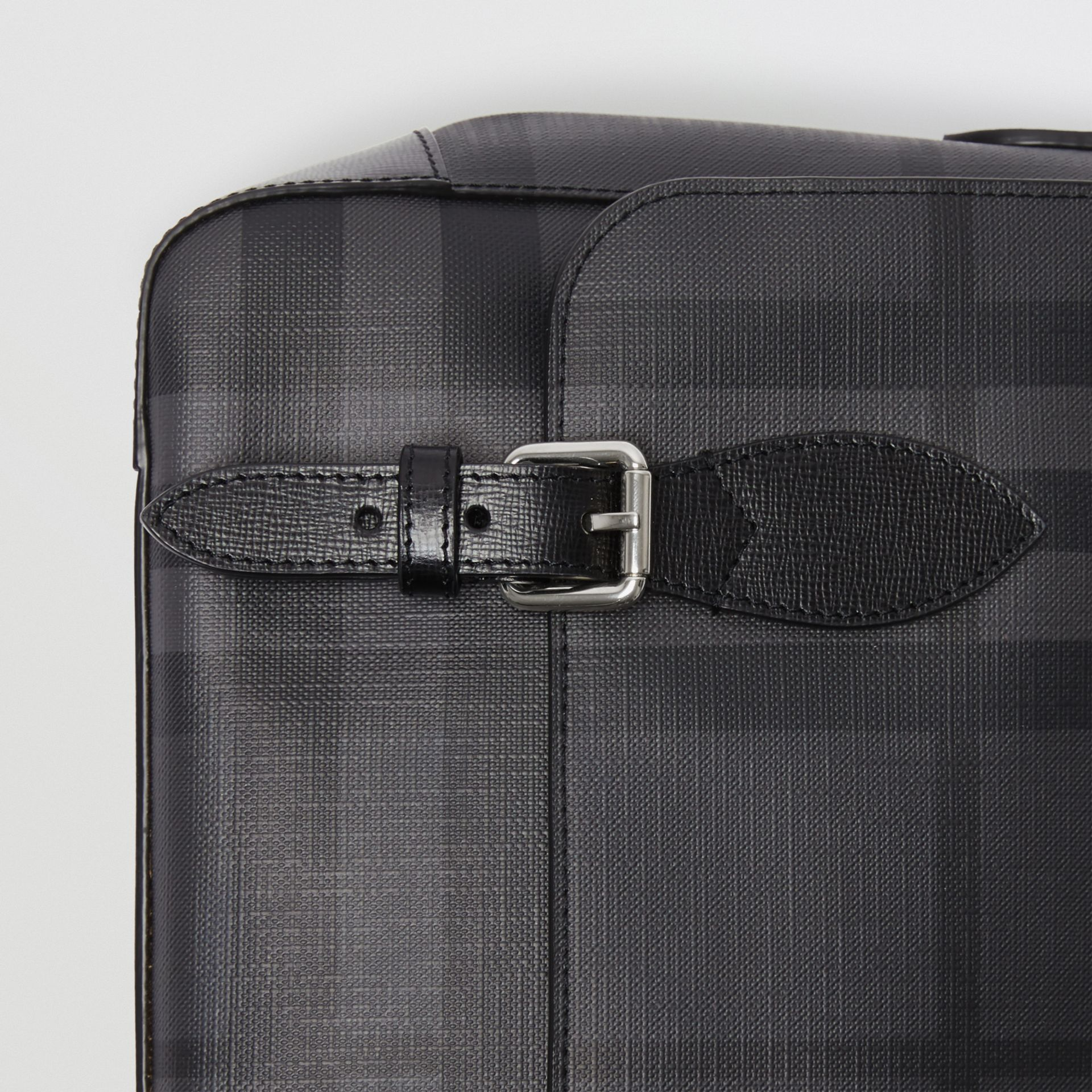 Medium Leather Trim London Check Messenger Bag in Charcoal/black - Men | Burberry - gallery image 1