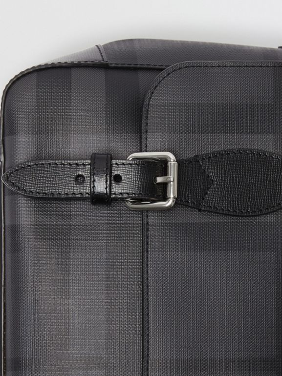 Medium Leather Trim London Check Messenger Bag in Charcoal/black - Men | Burberry - cell image 1