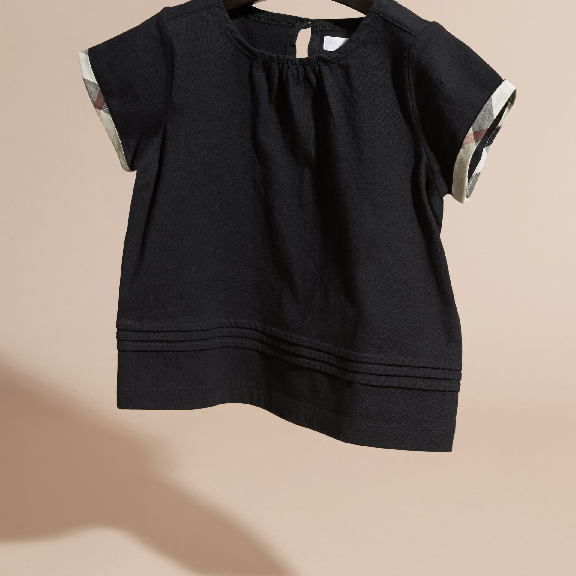 Pleat Detail Check Cotton T-Shirt in Black - gallery image 3