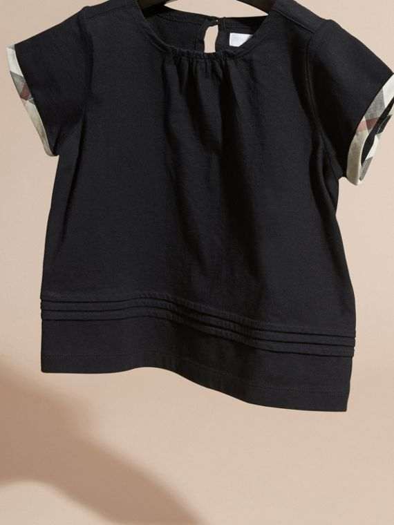 Pleat Detail Check Cotton T-Shirt in Black - cell image 2