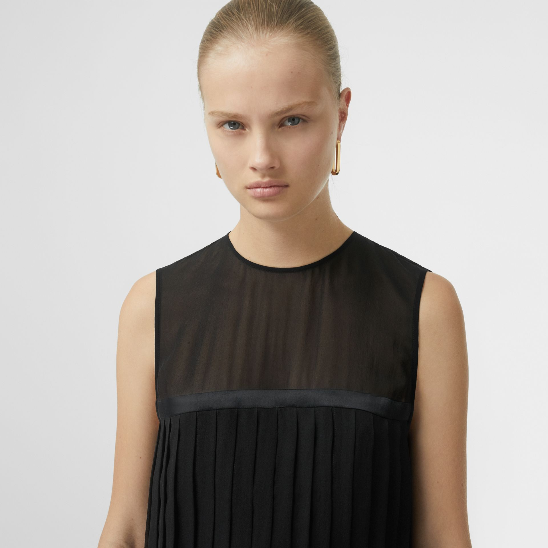 Sleeveless Pleated Silk Georgette Top in Black - Women | Burberry - gallery image 1