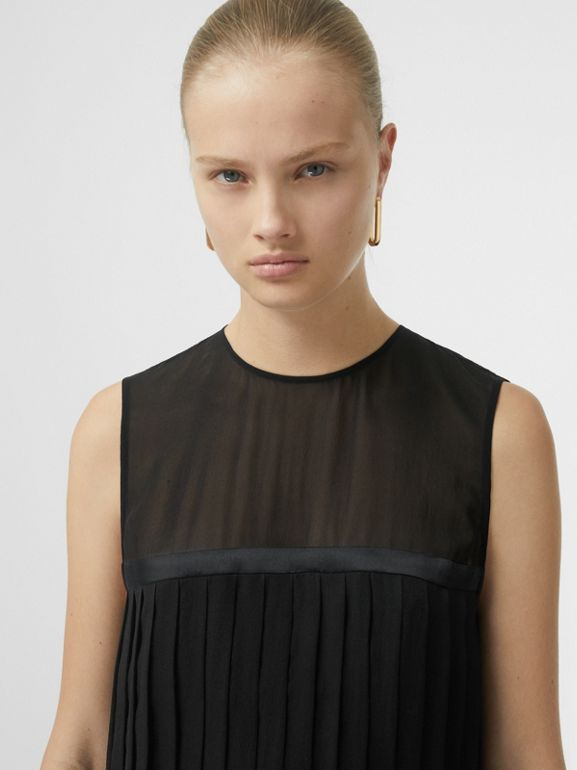Sleeveless Pleated Silk Georgette Top in Black - Women | Burberry - cell image 1