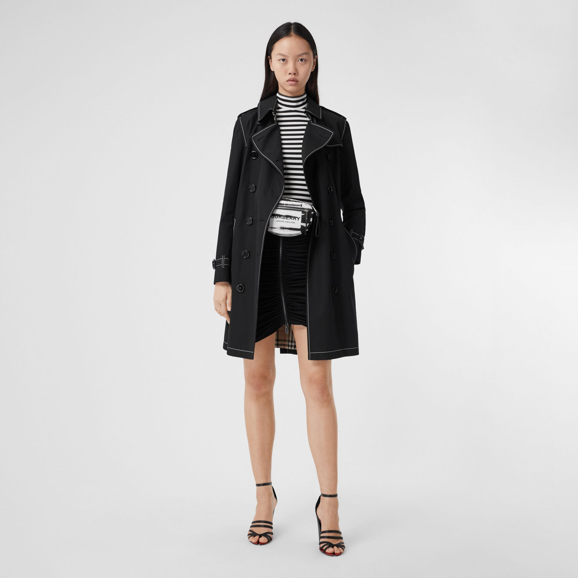 Topstitched Tropical Gabardine Trench Coat in Black - Women | Burberry Australia - gallery image 7