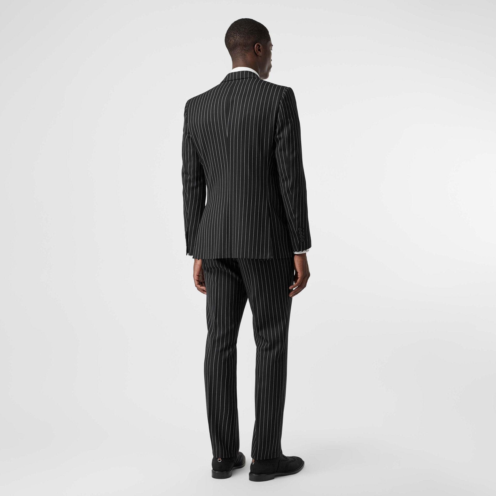 English Fit Pinstriped Wool Suit in Black - Men | Burberry Australia - gallery image 2