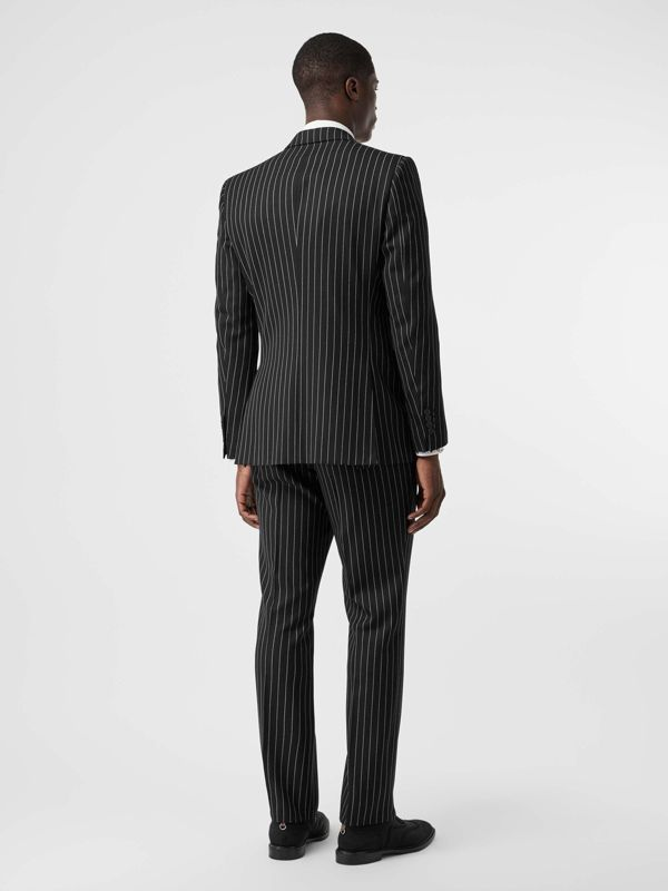 English Fit Pinstriped Wool Suit in Black - Men | Burberry Singapore - cell image 2