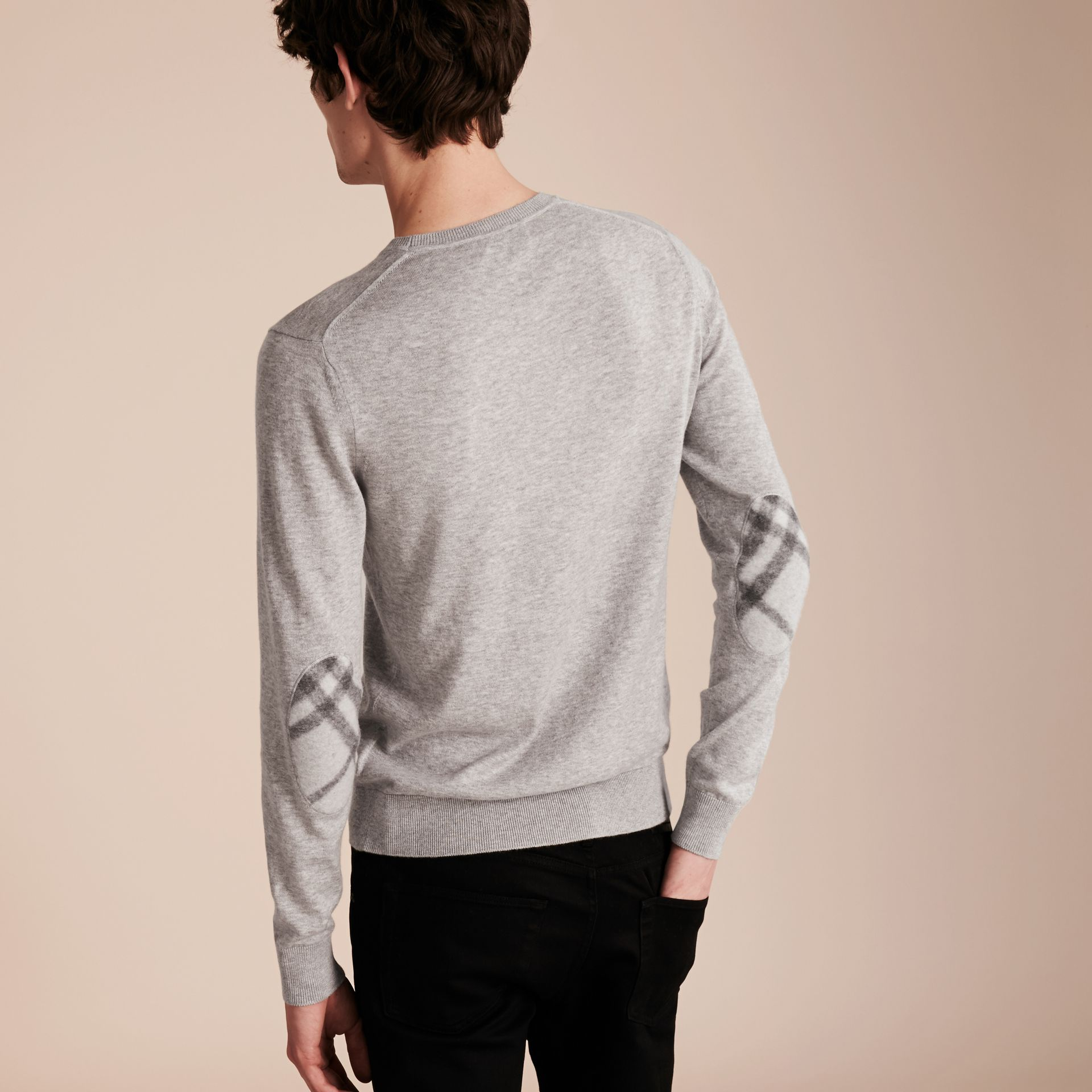 Check Trim Cashmere Cotton Sweater Pale Grey Melange - gallery image 3