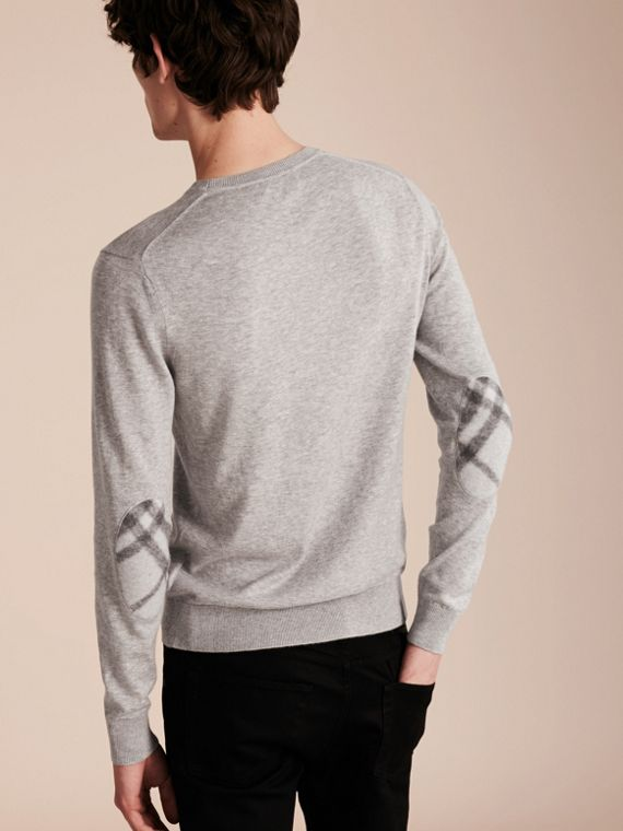 Check Trim Cashmere Cotton Sweater Pale Grey Melange - cell image 2