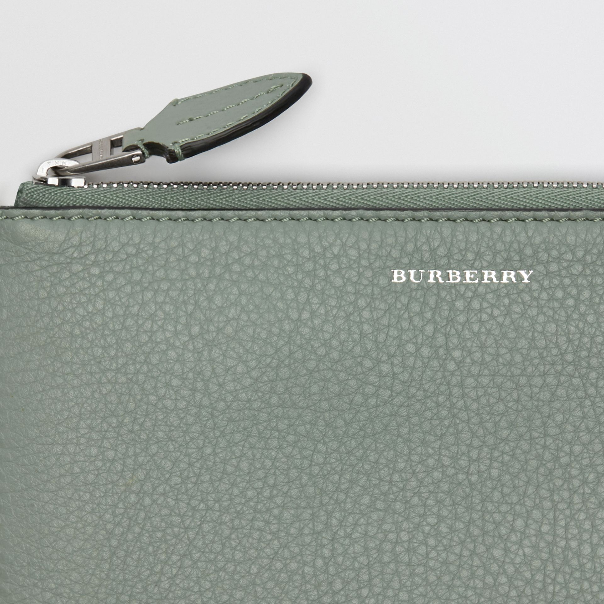 Two-tone Leather Ziparound Wallet and Coin Case in Grey Blue - Women | Burberry - gallery image 1
