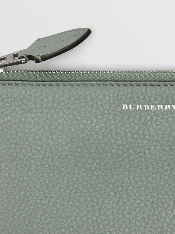 Two-tone Leather Ziparound Wallet and Coin Case in Grey Blue - Women | Burberry United States - cell image 1