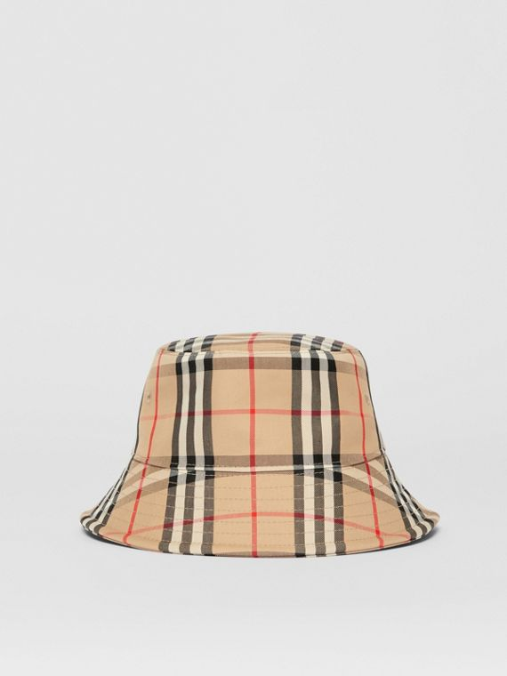 Vintage Check Cotton Blend Bucket Hat in Archive Beige