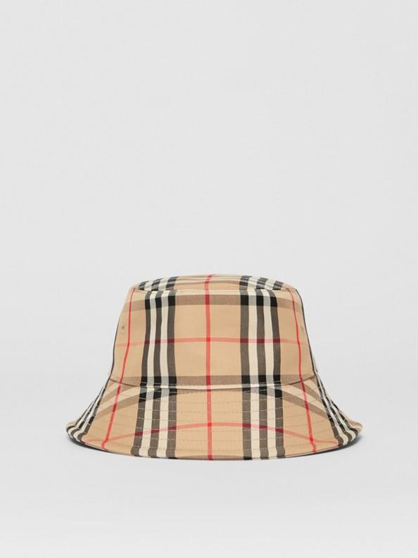 Chapéu Bucket de algodão em Vintage Check (Bege Clássico)