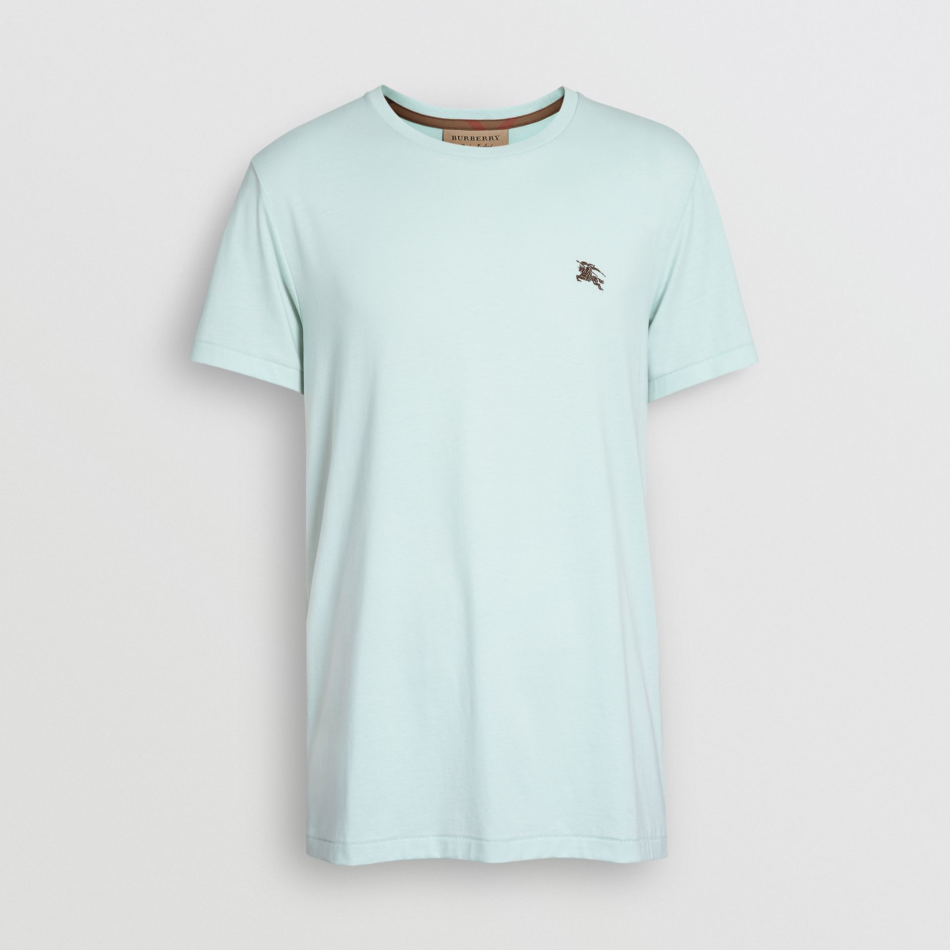 Cotton Jersey T-shirt in Pearl Blue - Men | Burberry - gallery image 3