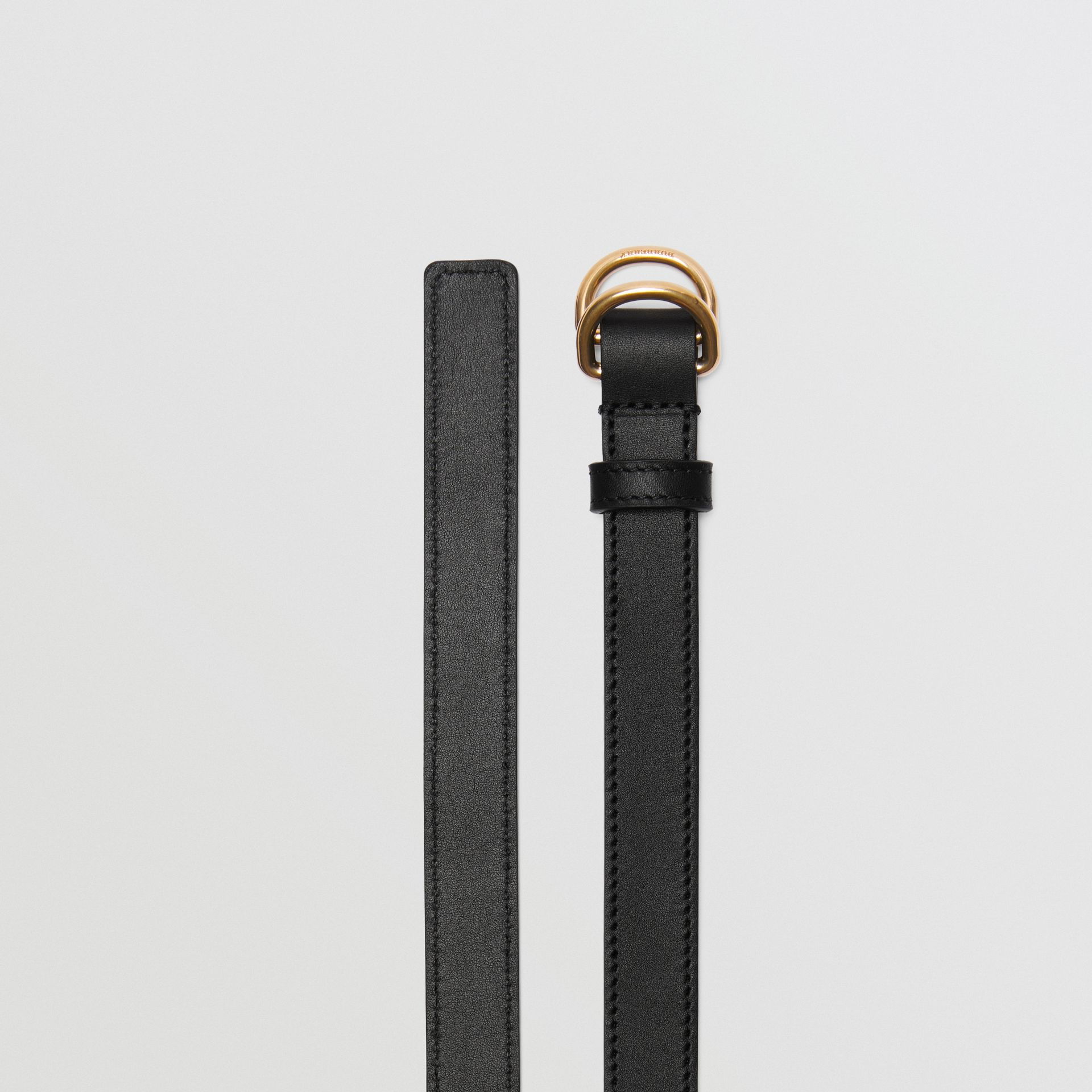 Slim Leather Double D-ring Belt in Black/dark Brass - Women | Burberry Hong Kong - gallery image 5