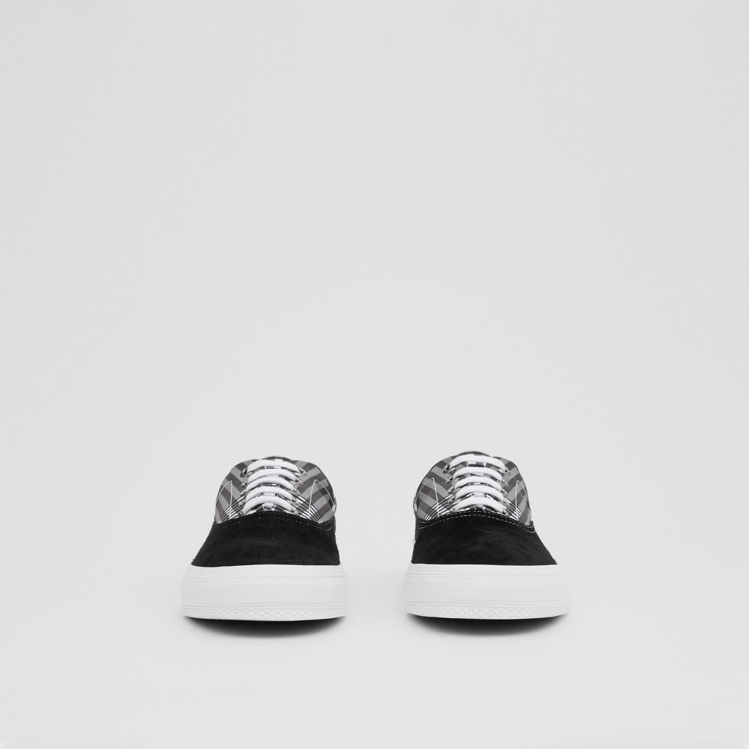 Check and Suede Sneakers in Grey/black - Men | Burberry United Kingdom - 3