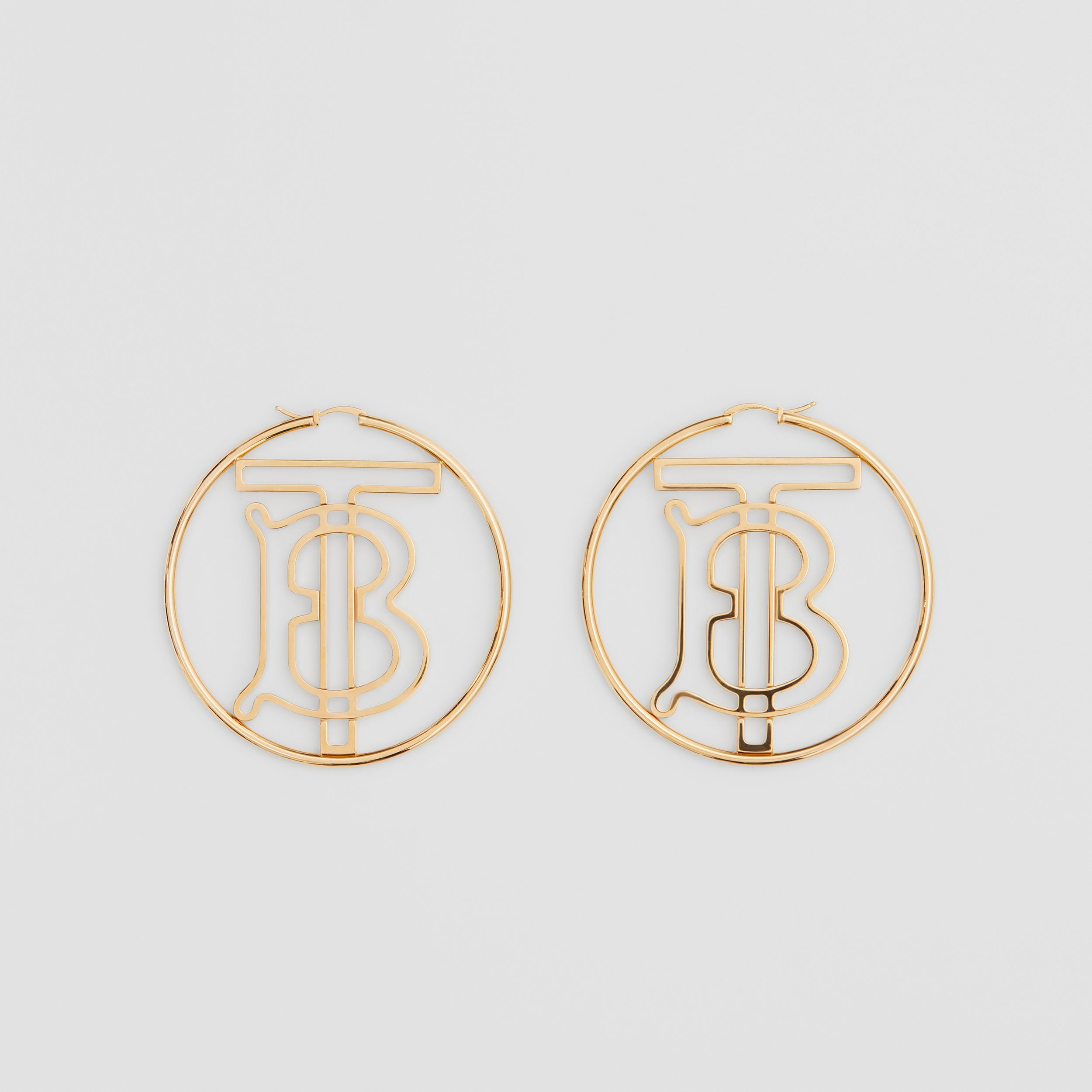 Gold-plated Monogram Motif Hoop Earrings in Light - Women | Burberry - 1
