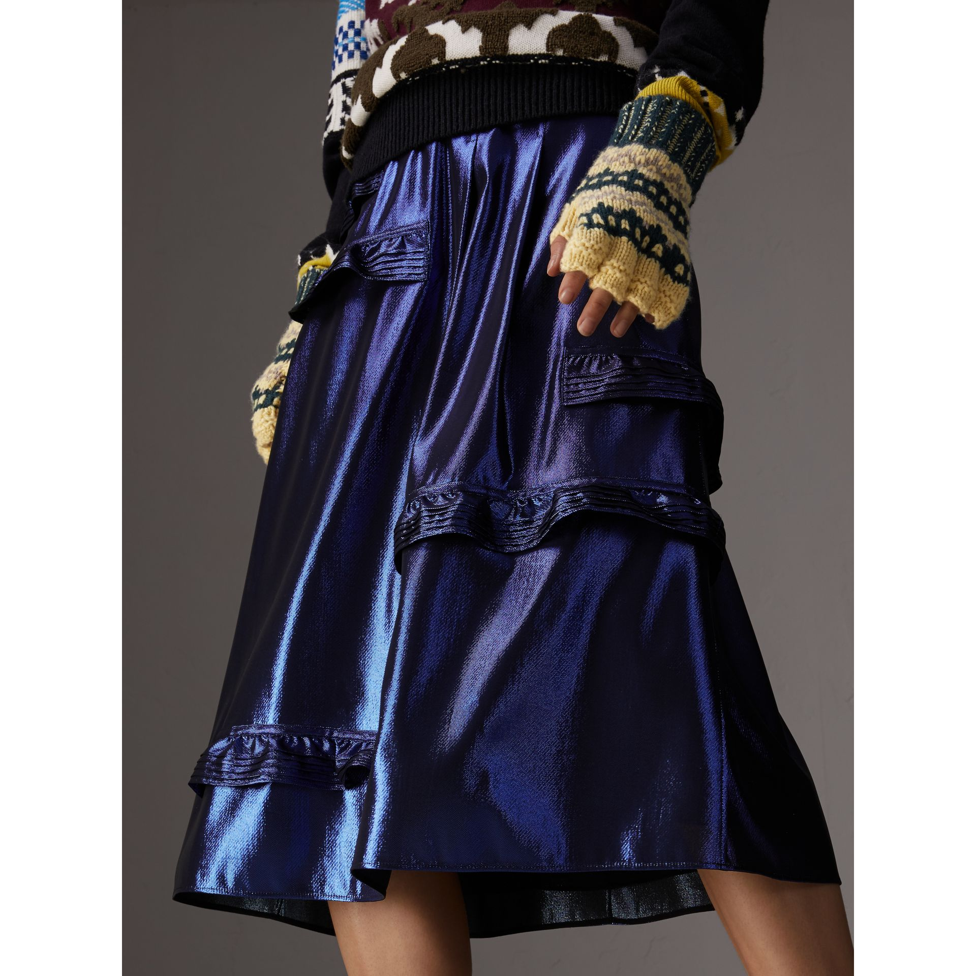 Ruffle Detail Lamé Skirt in Bright Navy - Women | Burberry - gallery image 4