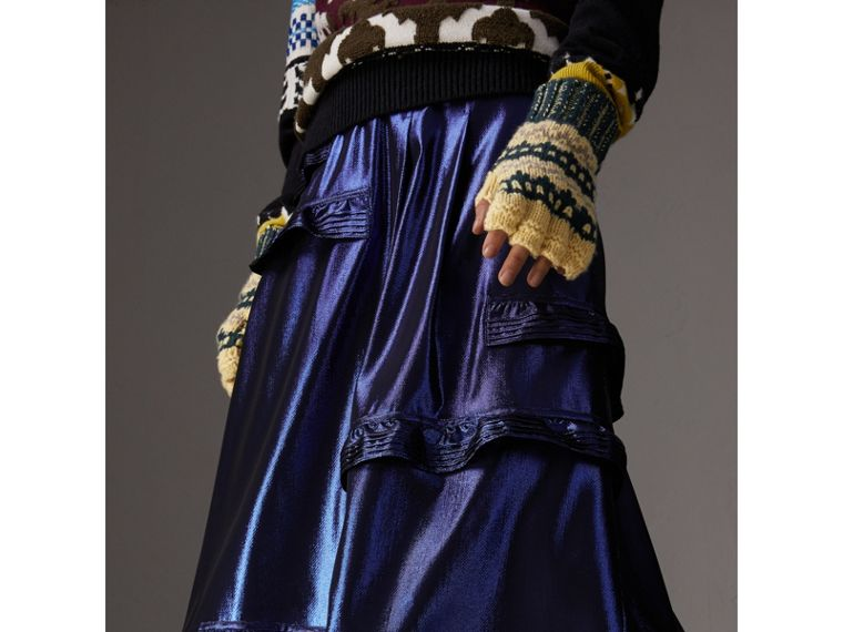 Ruffle Detail Lamé Skirt in Bright Navy - Women | Burberry - cell image 4