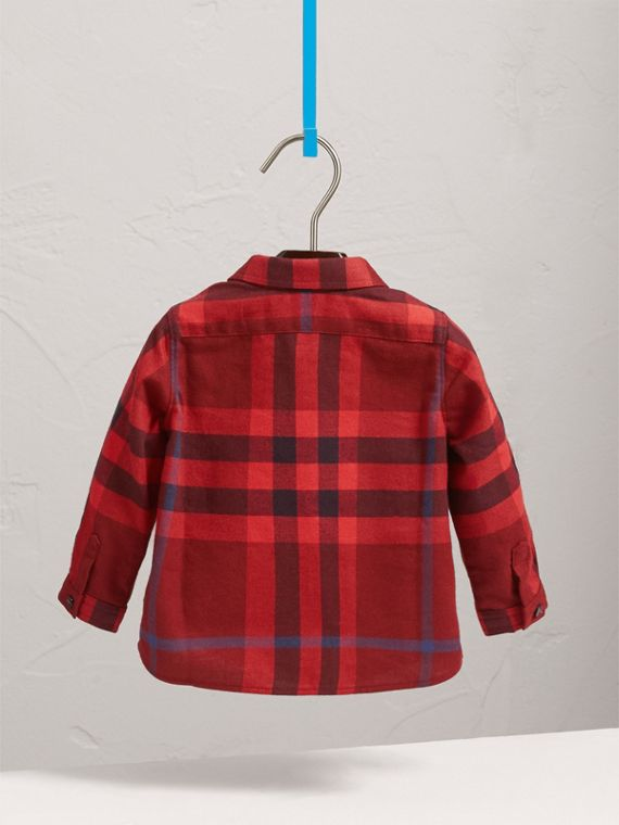 Button-down Collar Check Cotton Shirt in Mahogany Red | Burberry - cell image 3