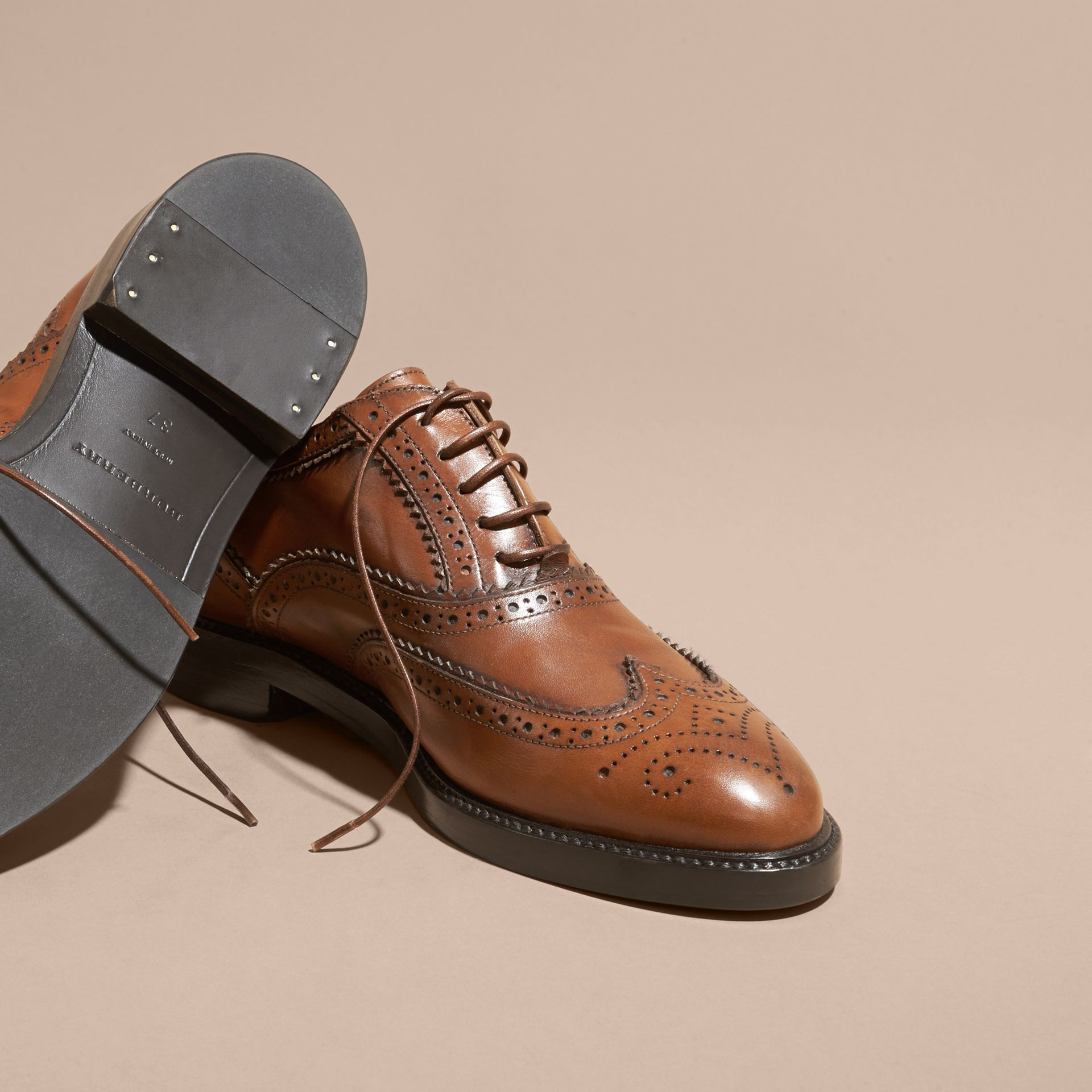 Leather Wingtip Brogues in Bright Camel - gallery image 5
