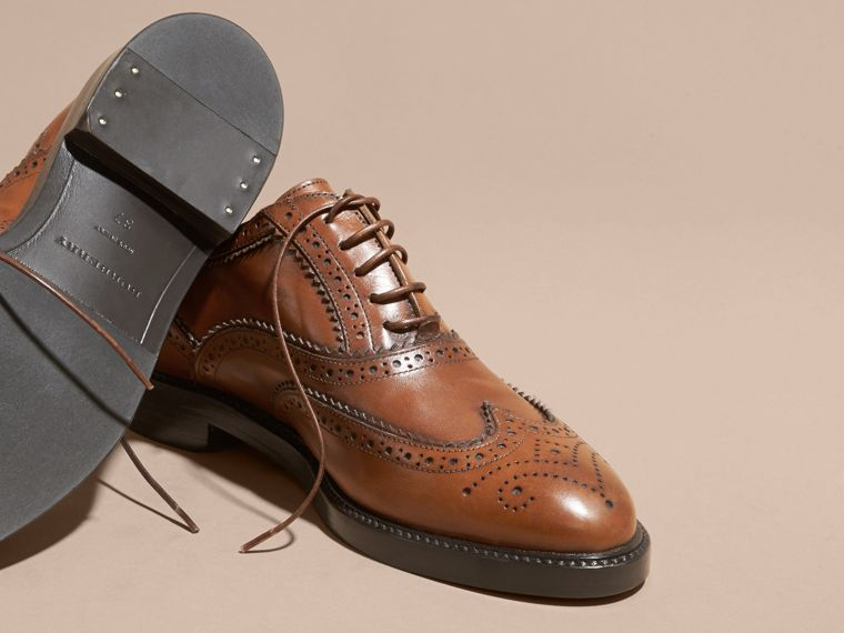 Leather Wingtip Brogues in Bright Camel - Women | Burberry - cell image 4