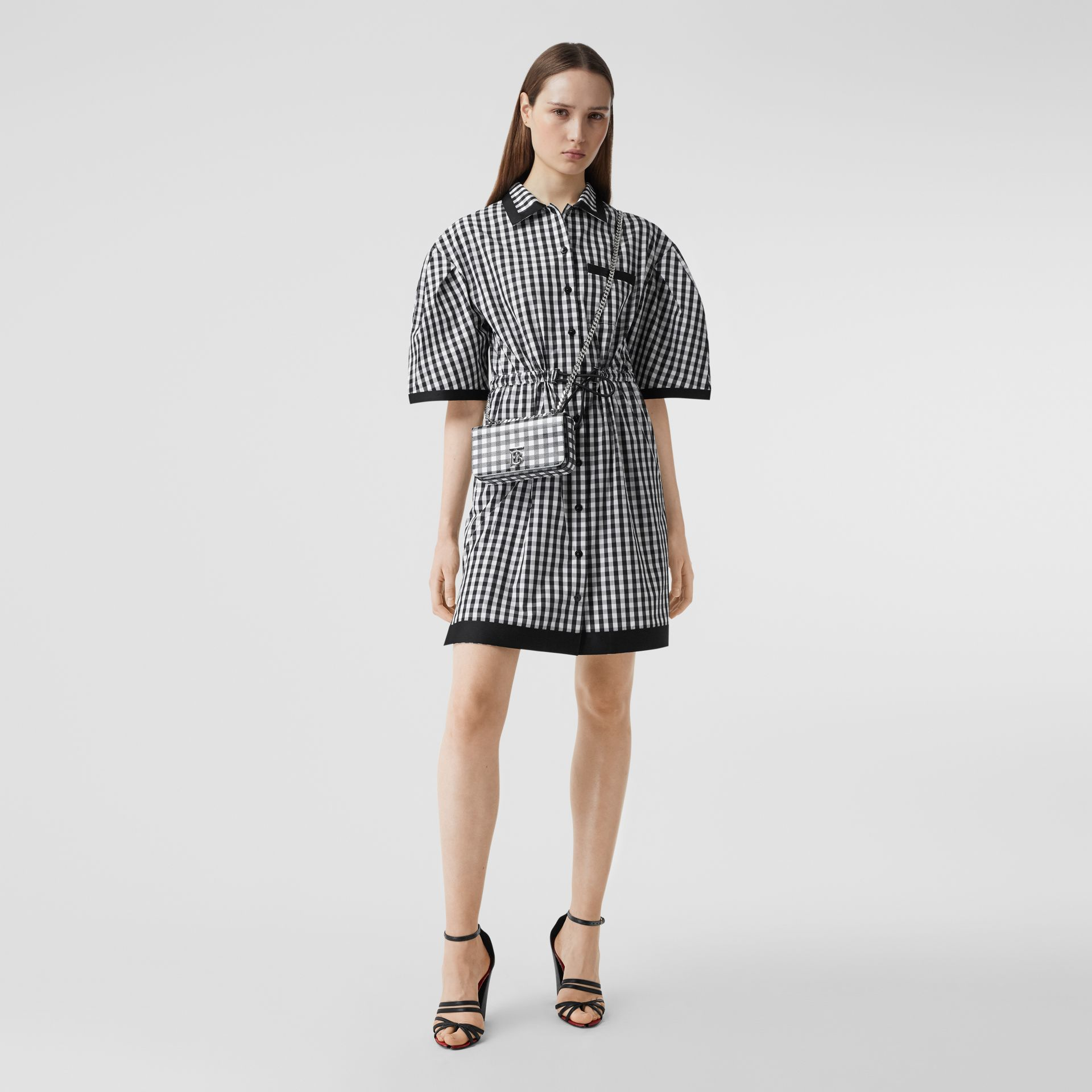 Puff-sleeve Gingham Cotton Shirt Dress in Black - Women | Burberry Australia - gallery image 0