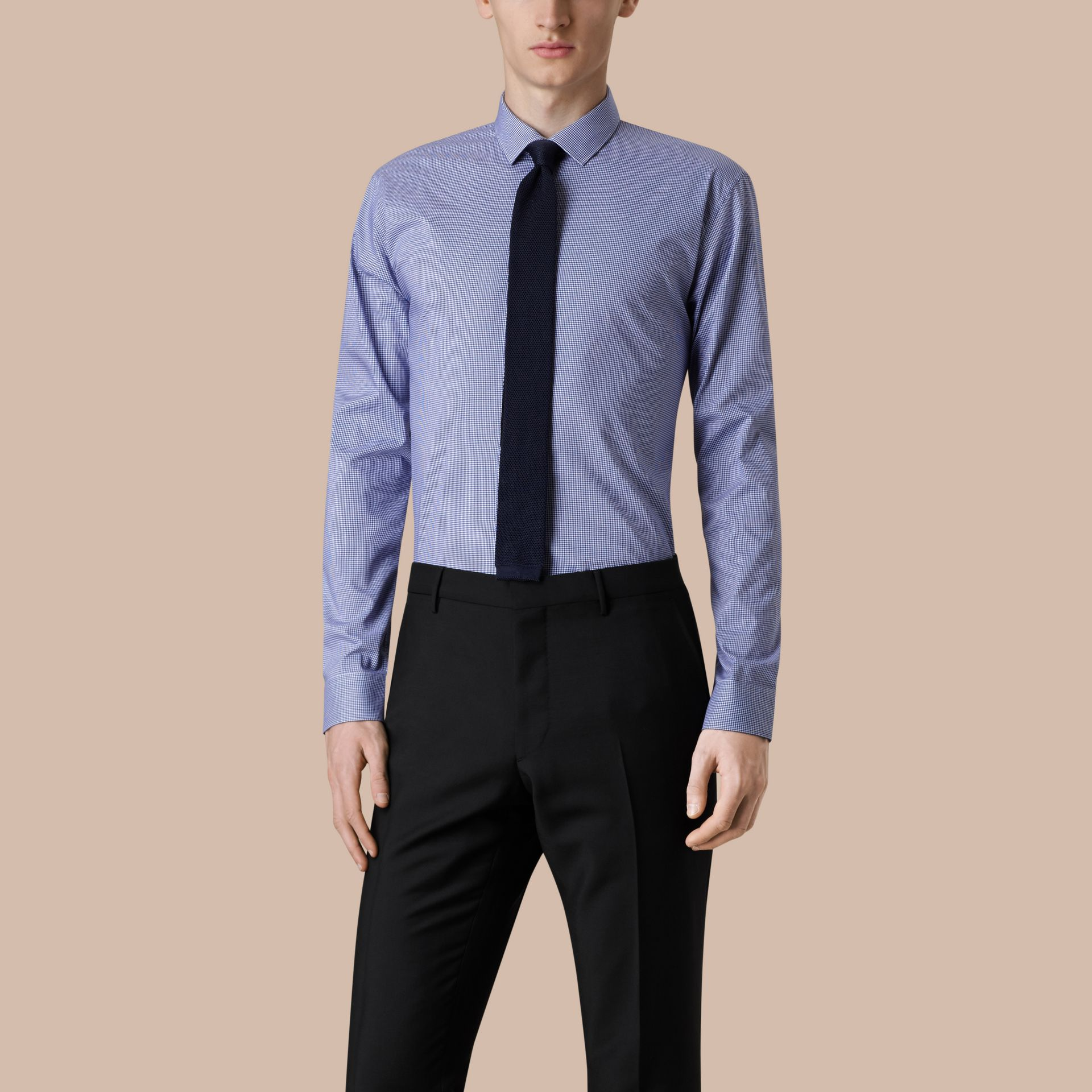 Camicia vichy moderna in popeline di cotone Blu Impero Scuro - immagine della galleria 1