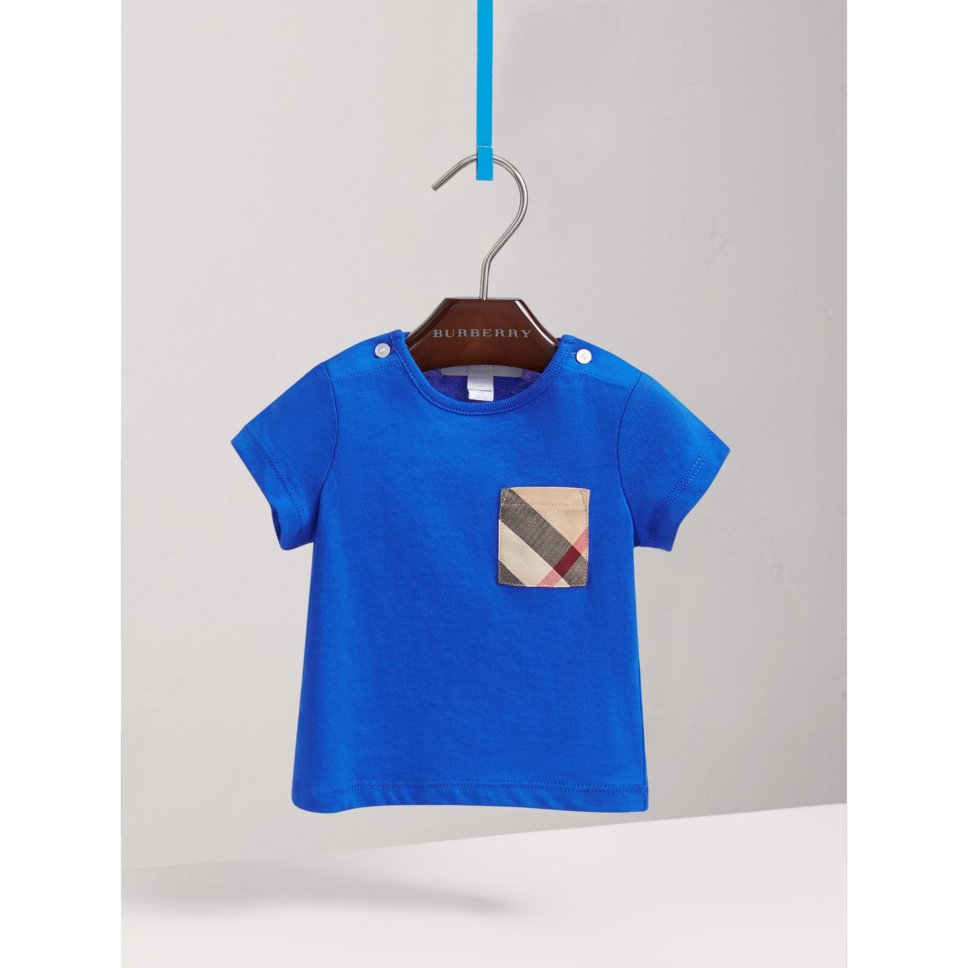 Check Pocket Cotton T-shirt in Cobalt Blue | Burberry Australia - gallery image 2
