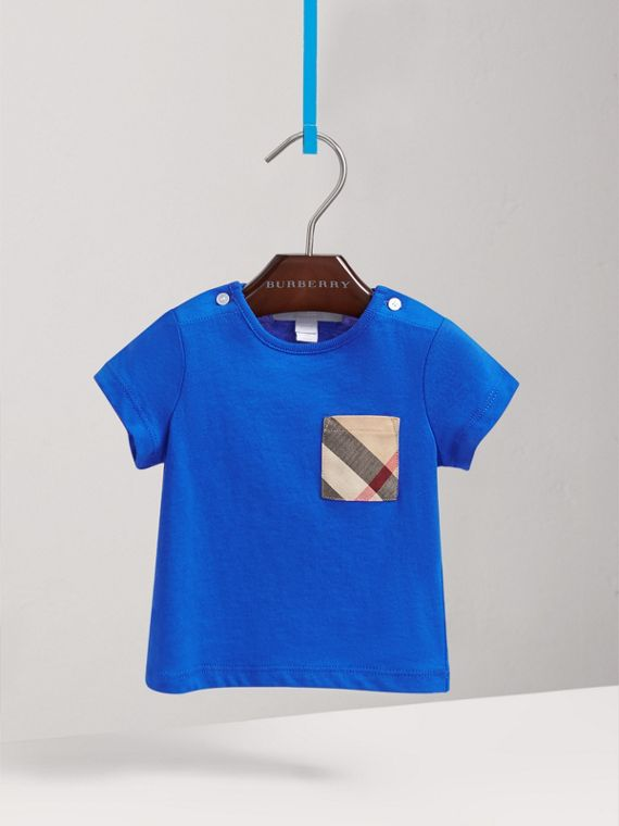 Check Pocket Cotton T-shirt in Cobalt Blue | Burberry - cell image 2