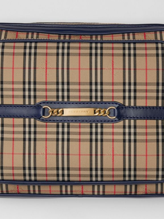 The Large 1983 Check Link Camera Bag in Ink Blue - Men | Burberry United Kingdom - cell image 1