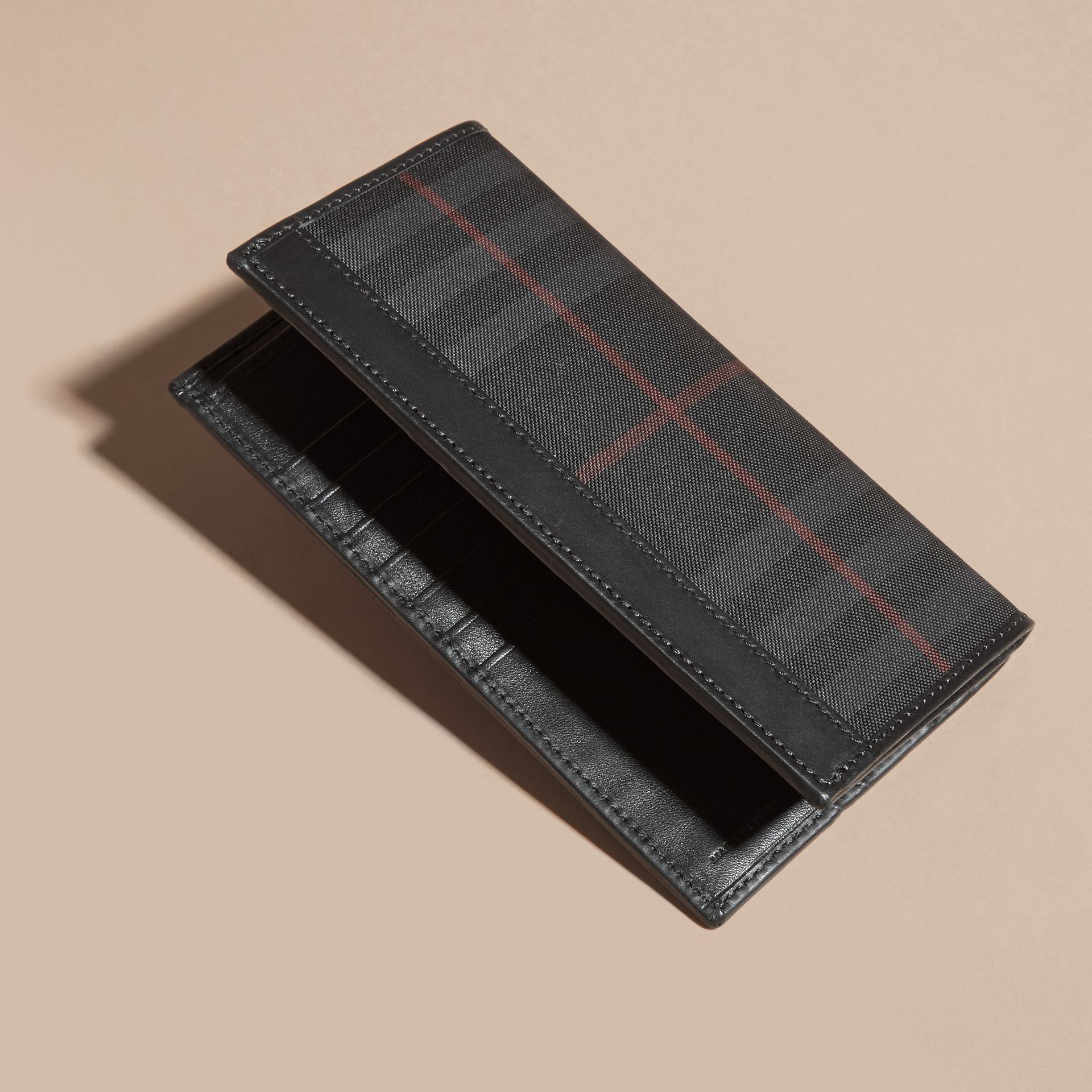 Small Horseferry Check Currency Wallet in Charcoal/black - Men | Burberry - gallery image 4