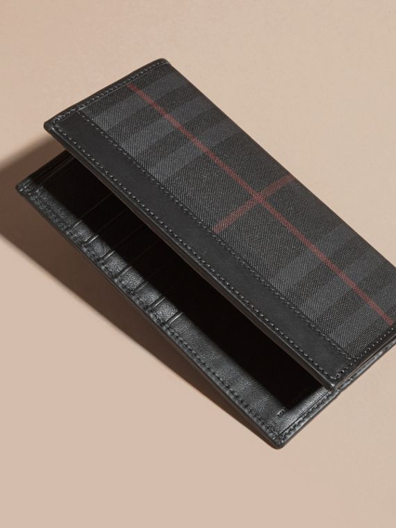 Small Horseferry Check Currency Wallet in Charcoal/black - Men | Burberry Australia - cell image 3