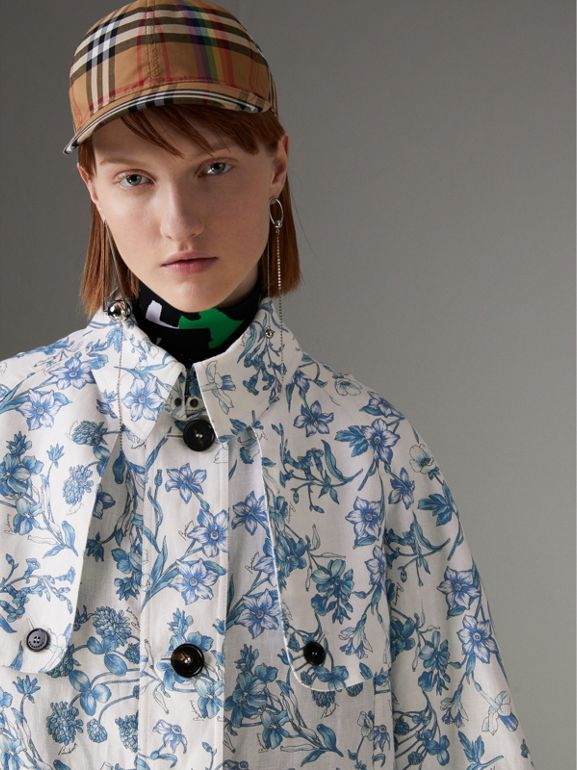 Reissued 2005 Floral Print Linen Dress Coat in Blue China - Women | Burberry Australia - cell image 1