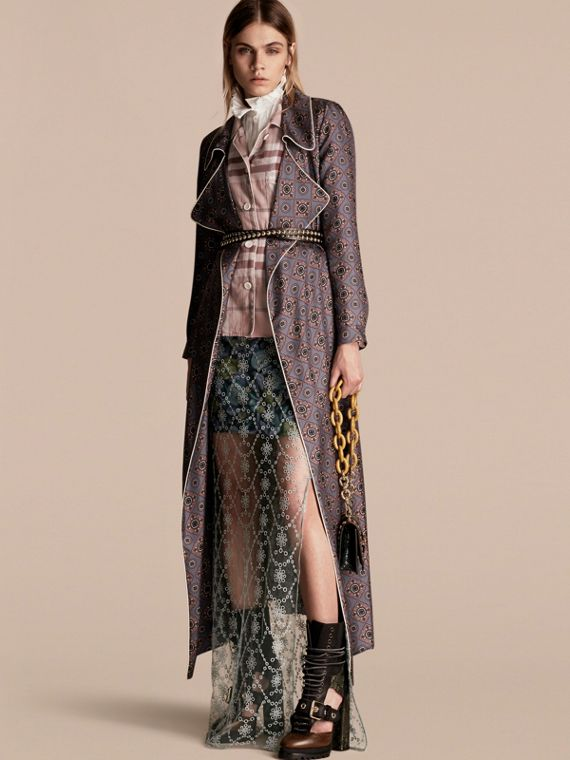 Geometric Tile Print Silk Dressing Gown Coat