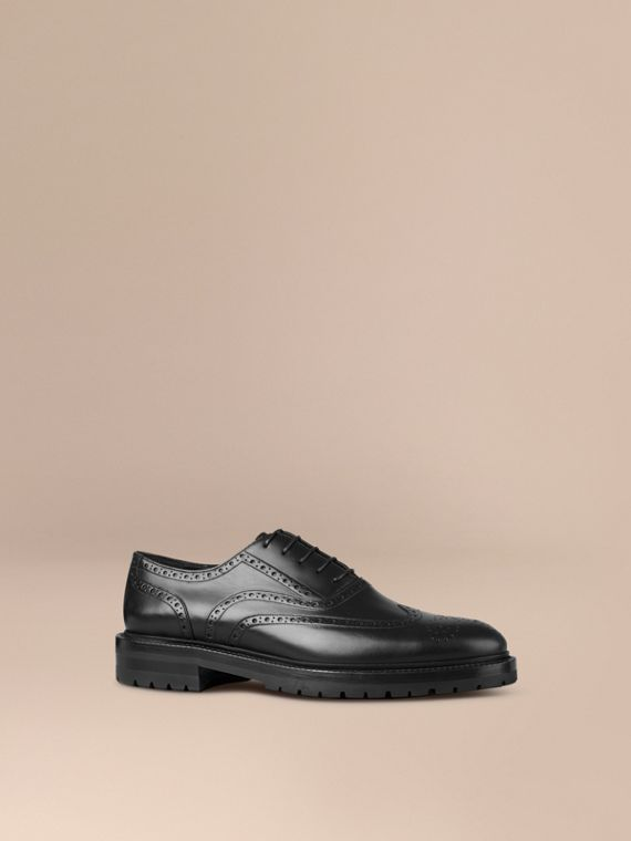 Leather Wingtip Brogues With Rubber Sole Black