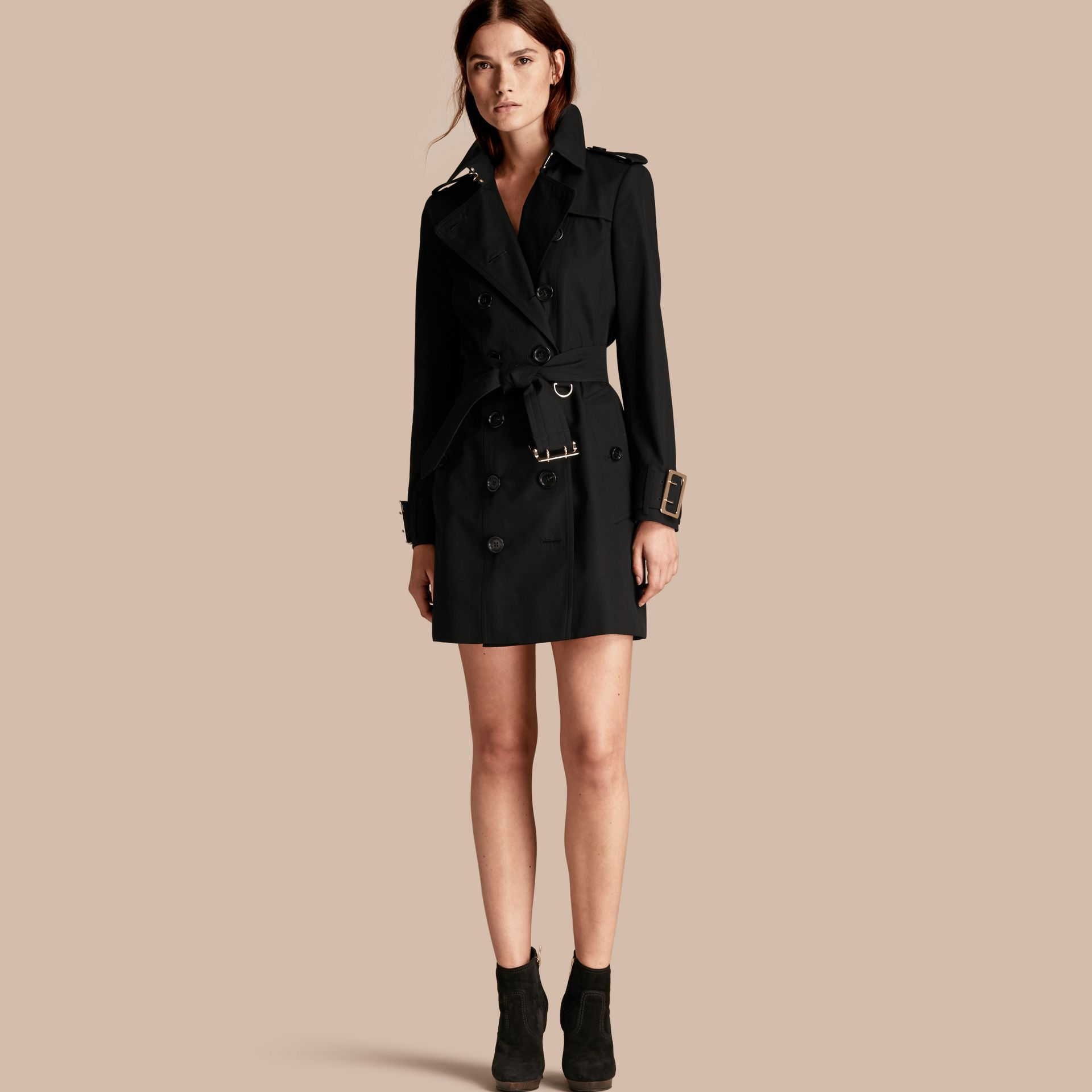 Black Cotton Gabardine Trench Coat with Oversize Buckle Detail Black - gallery image 1
