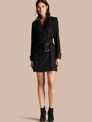 Cotton Gabardine Trench Coat with Oversize Buckle Detail Black